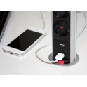 Axessline PopUp - 3 EL + 2 USB + 2 Laddning. Silver