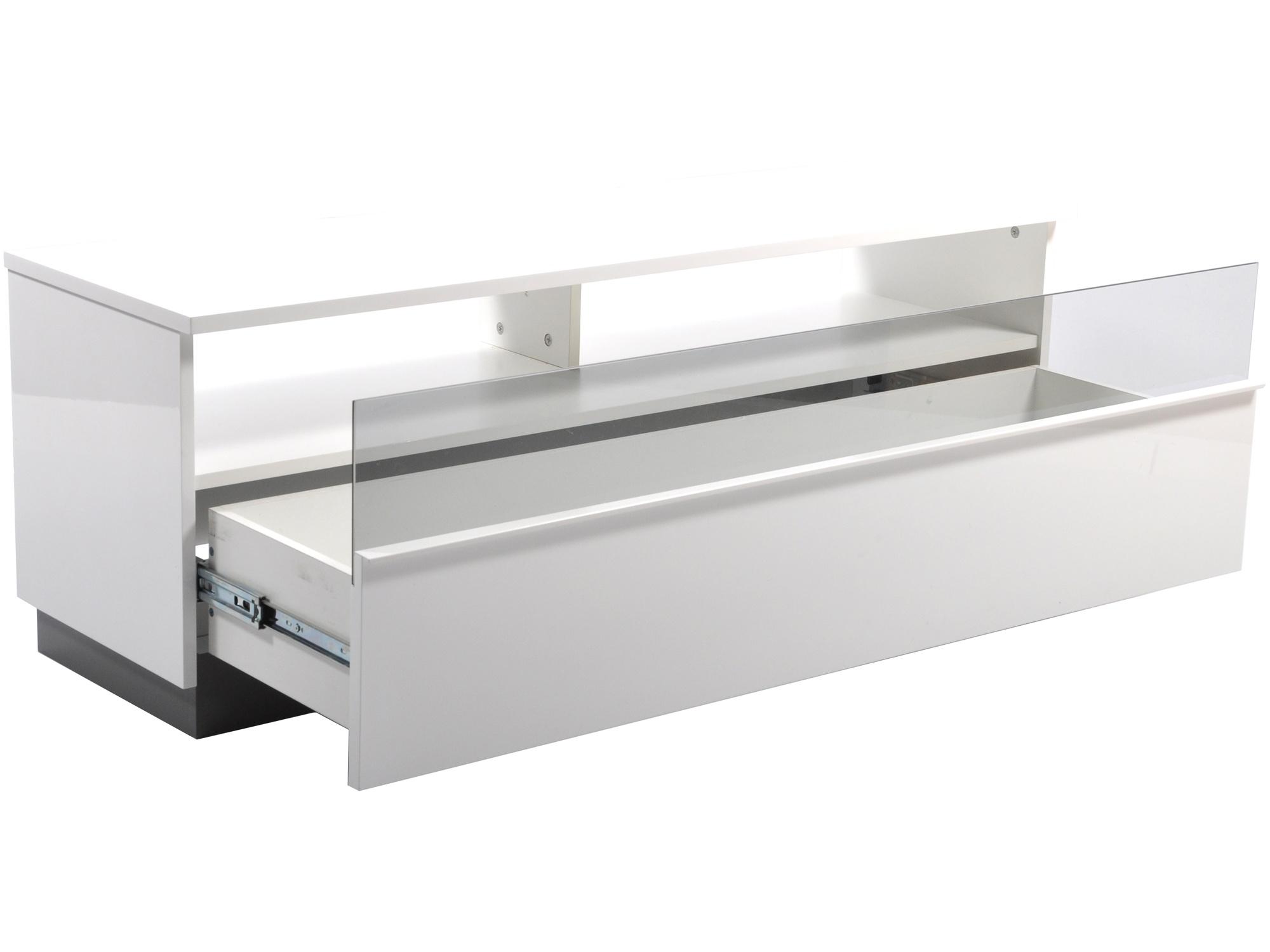 Decibel Mediabänk 125 VIT med Sockel, Glasfront, Låda Fri Frakt! EDCON SE Webshop