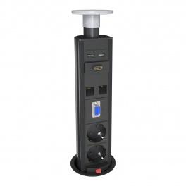 Axessline PopUp - 2 EL, 2 Data, 2 USB, 1 VGA(Audio, 1 HDMI