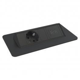 Axessline QuickBox - 1 El, 2 USB Laddare, Svart