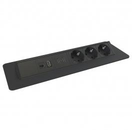 Axessline QuickBox - 3 El 2, 2 USB Laddare, HDMI, Data. Svart